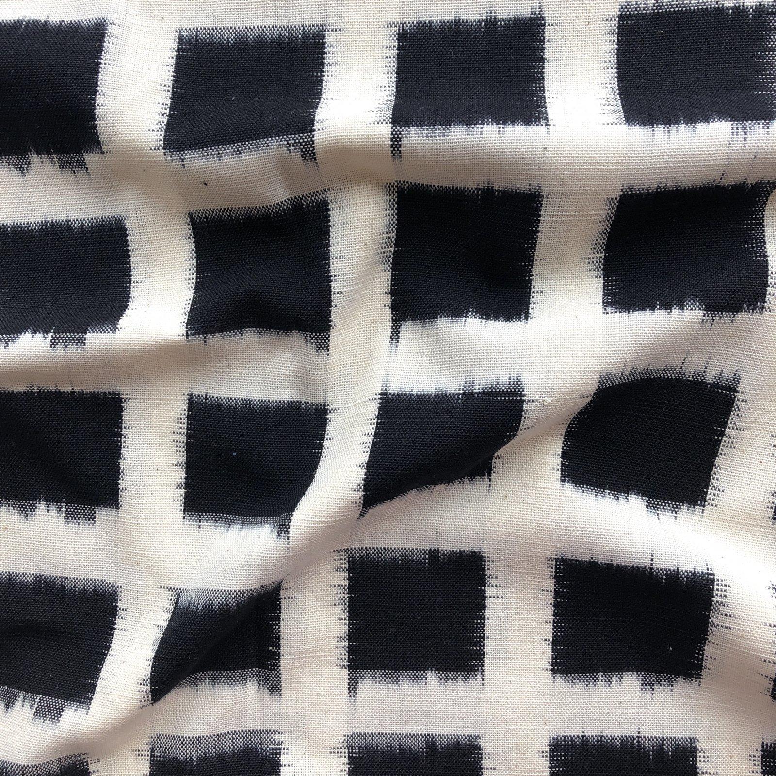 Large Squares Ikat - Black on White