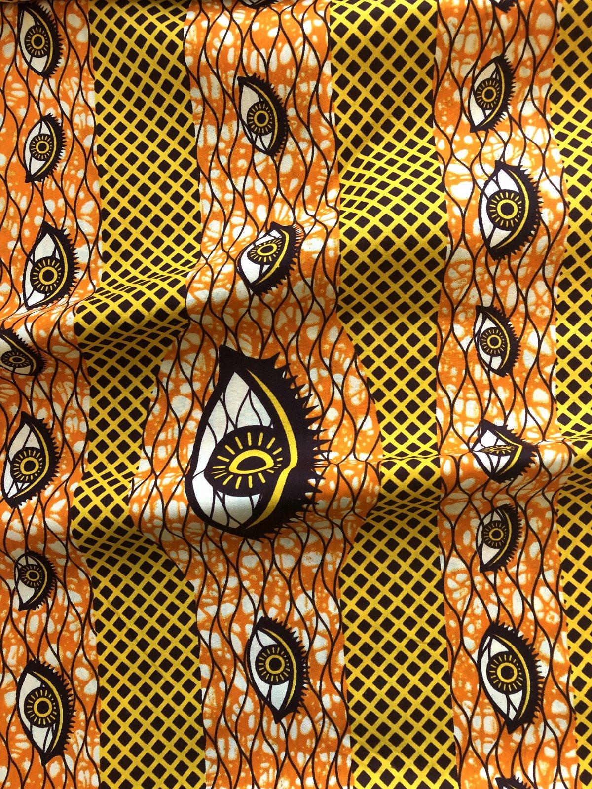 African Wax Print - Eyes - Yellow