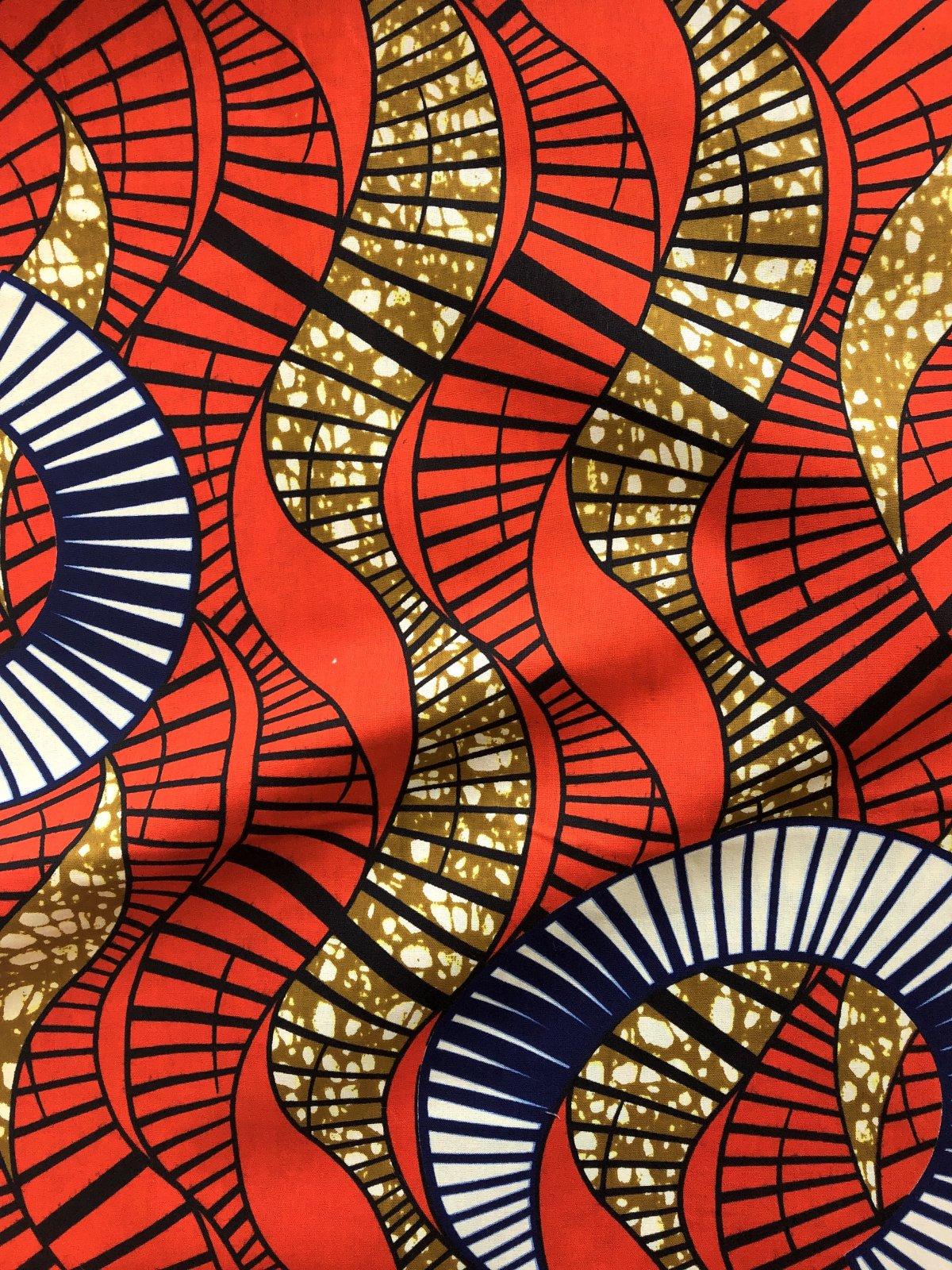 African Wax Print - Wave - Red