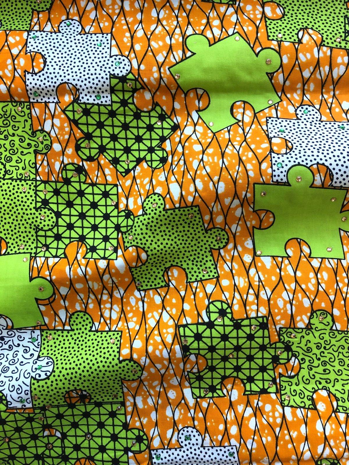 African Wax Print - Rhinestone Puzzle - Green