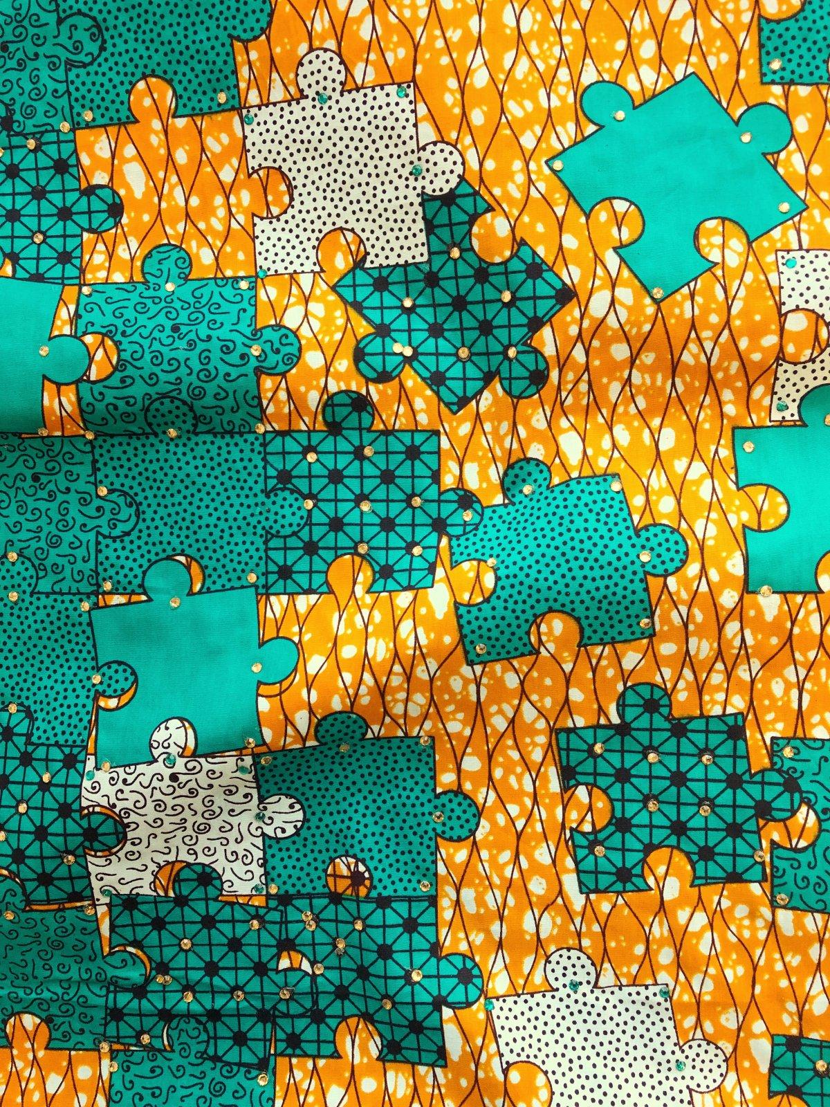 African Wax Print - Rhinestone Puzzle - Aqua