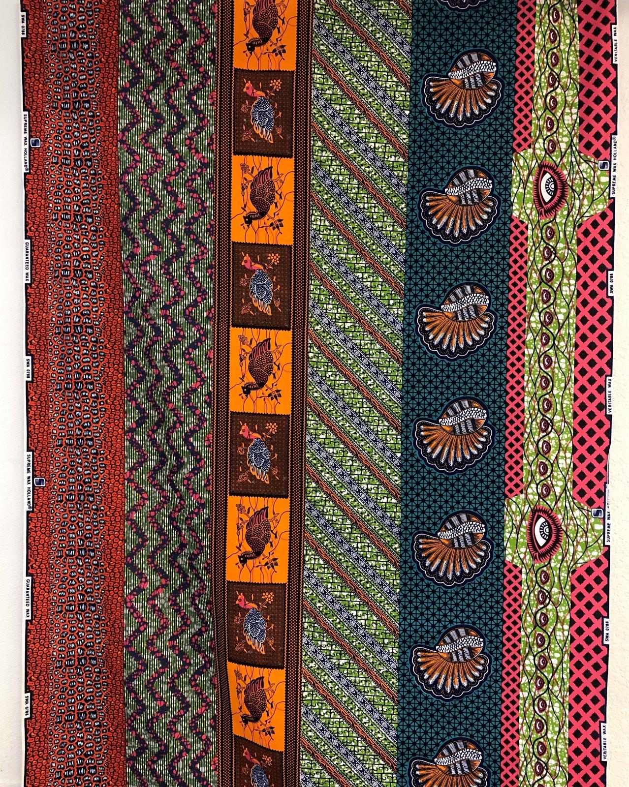 African Wax Print - Eyes, Shells, Ansan - Green