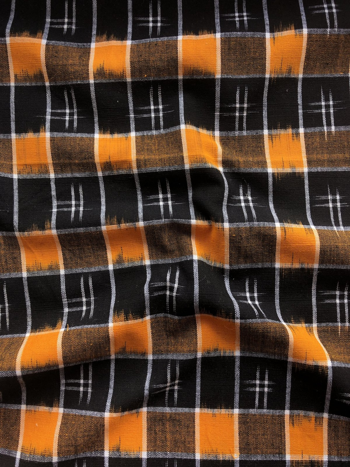 Gingham Ikat - Orange/Black