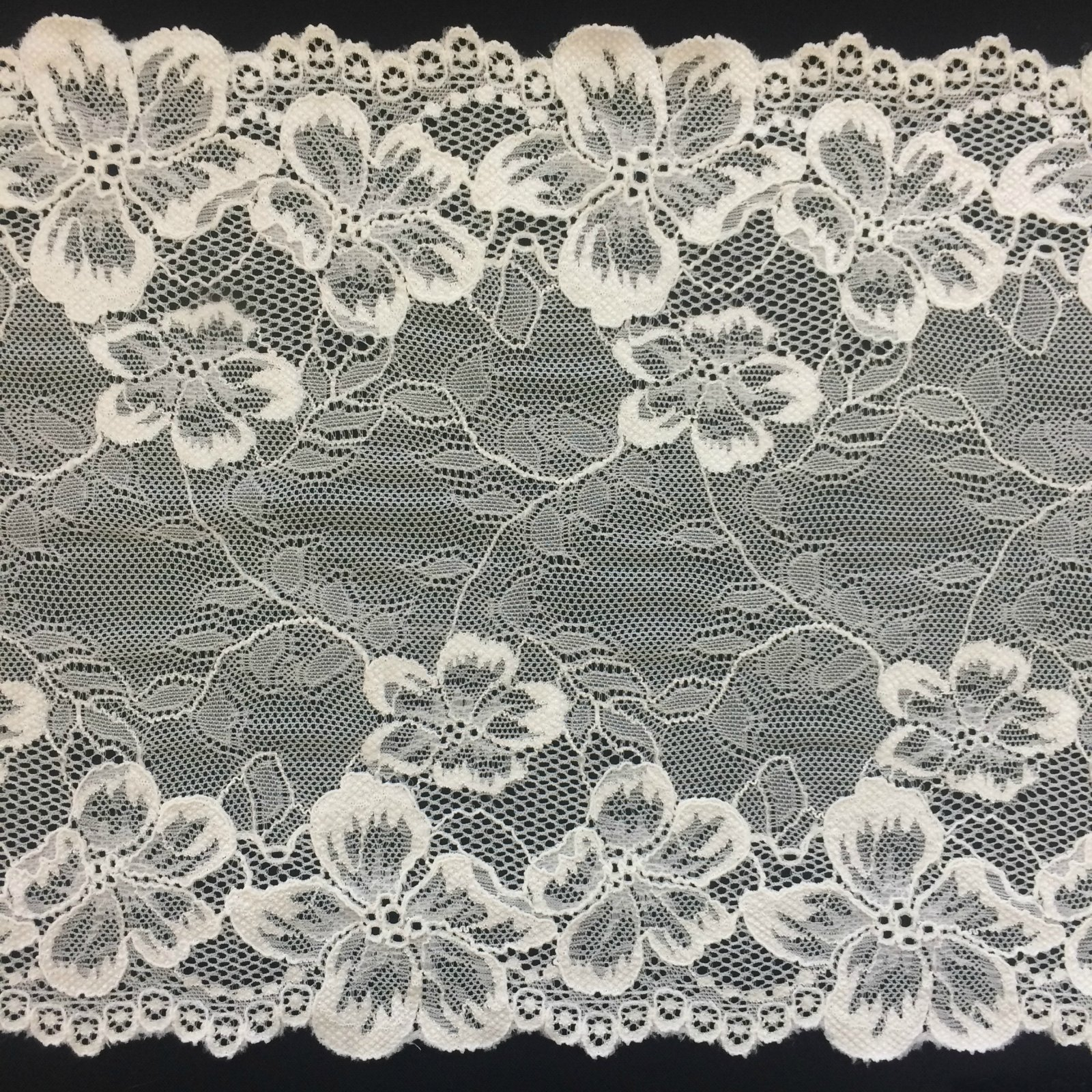 8 5/8 Wide Stretch Floral & Vine Lace Trim - Ivory