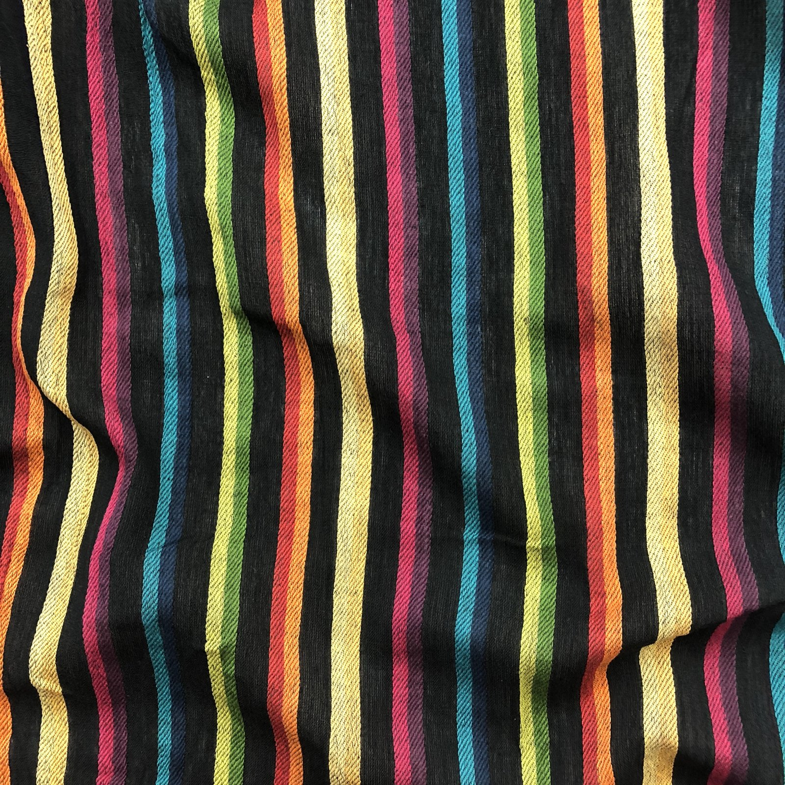 Ikat Cotton Gauze - Rainbow on Black
