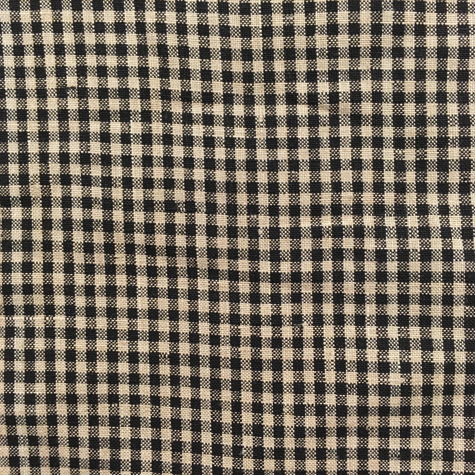100% Linen - Mini Gingham - Black/Natural