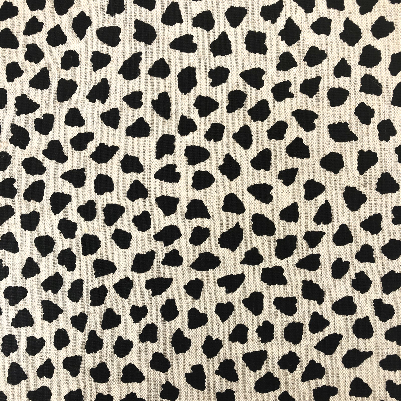 100% Linen - Spotted - Black/Natural