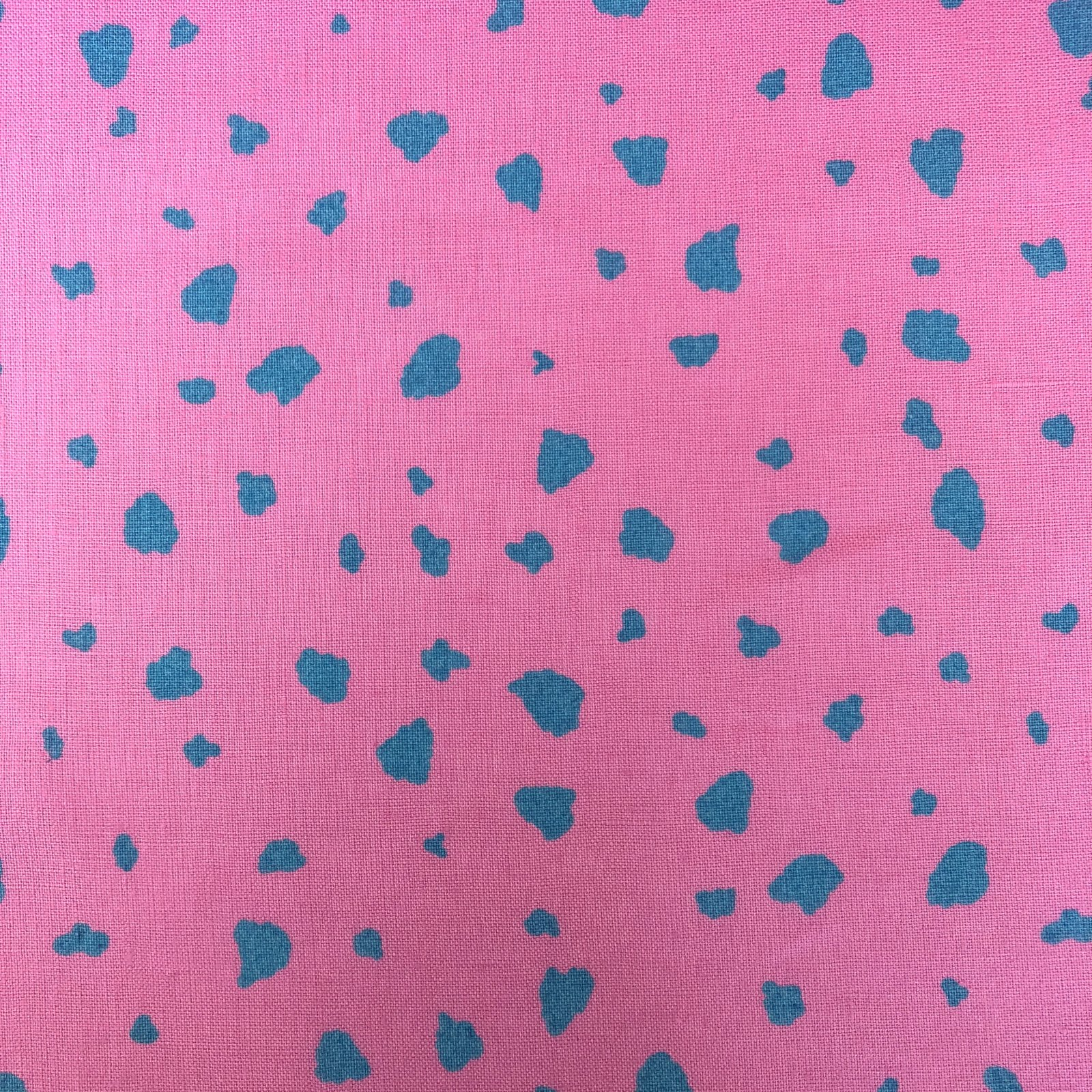 100% Linen - Flecked - Pink/Aqua
