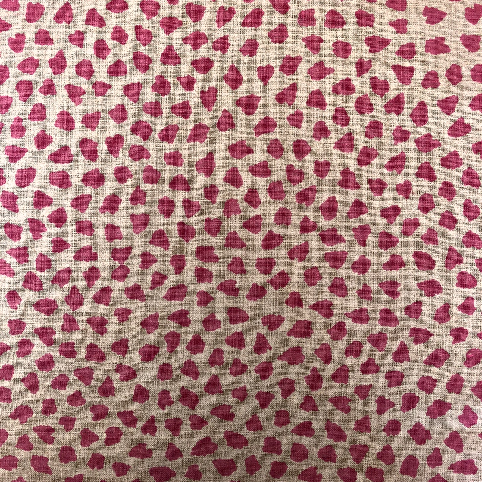 100% Linen - Spotted - Pink/Natural