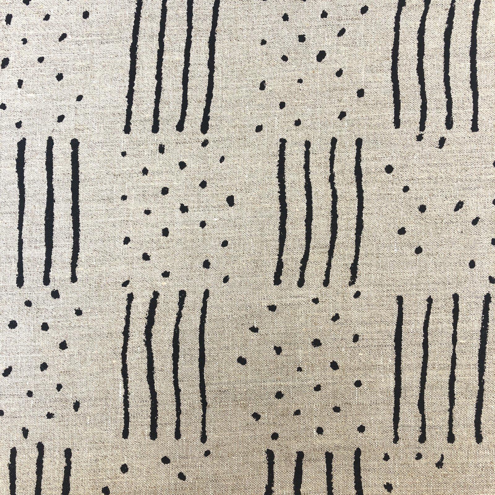 100% Linen - Mudcloth - Black on Natural