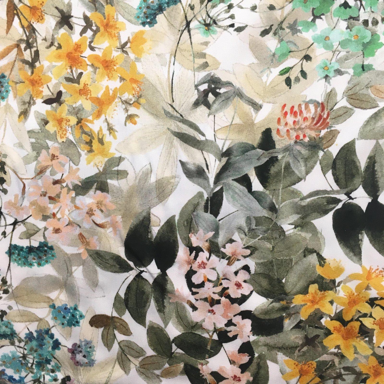Italian Viscose Sateen - Watercolor Flowers