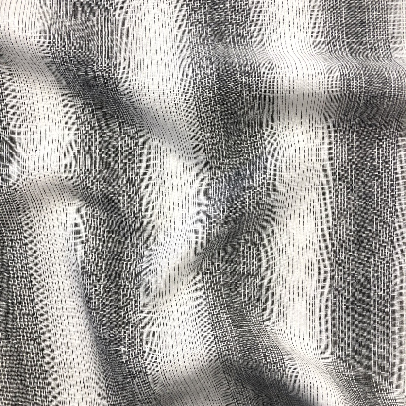 100% Linen - Yarn Dyed Varied Stripe - Black
