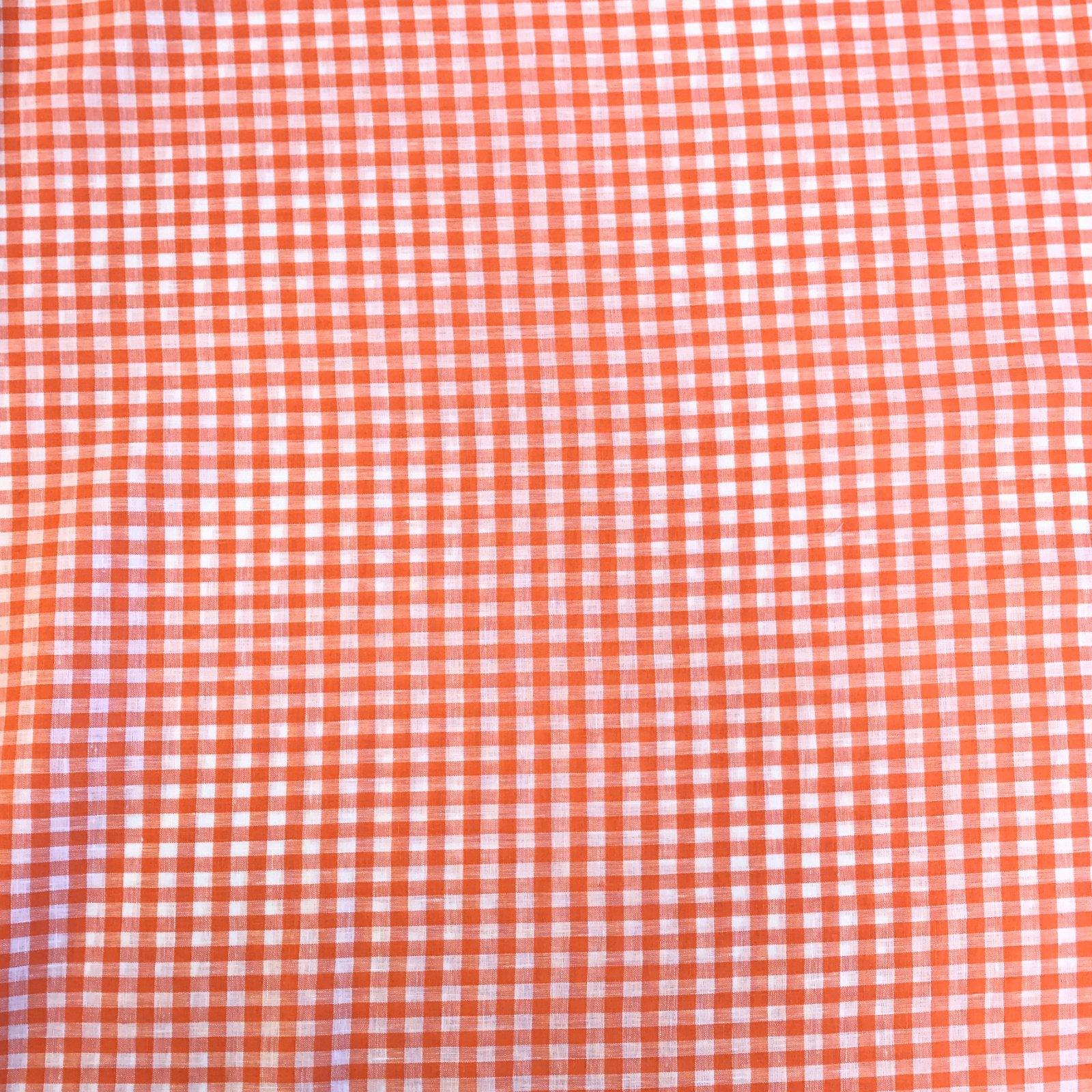 Linen Gingham Check - Tangerine