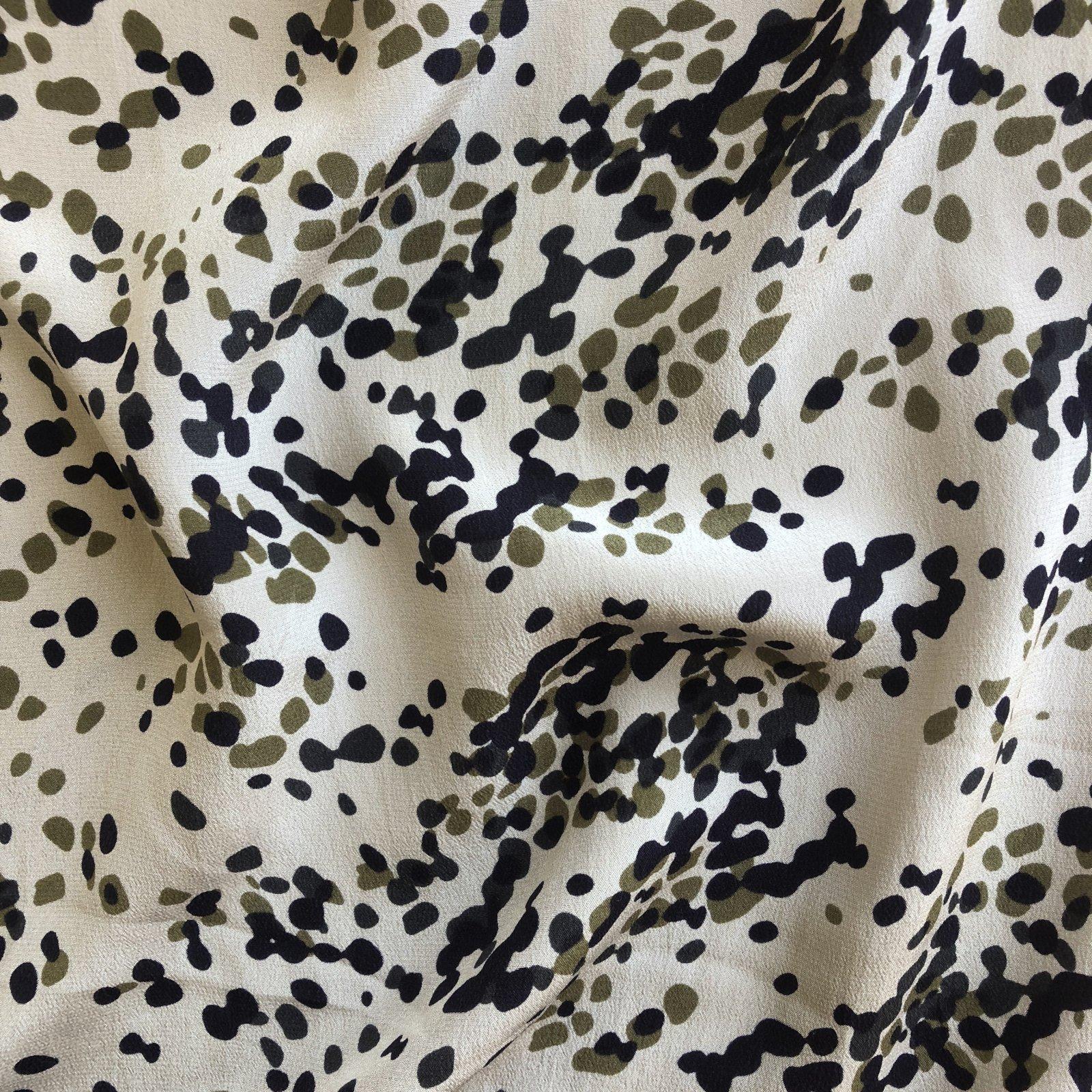 Sandwashed Silk Crepe - Speckles - Olive/Ink