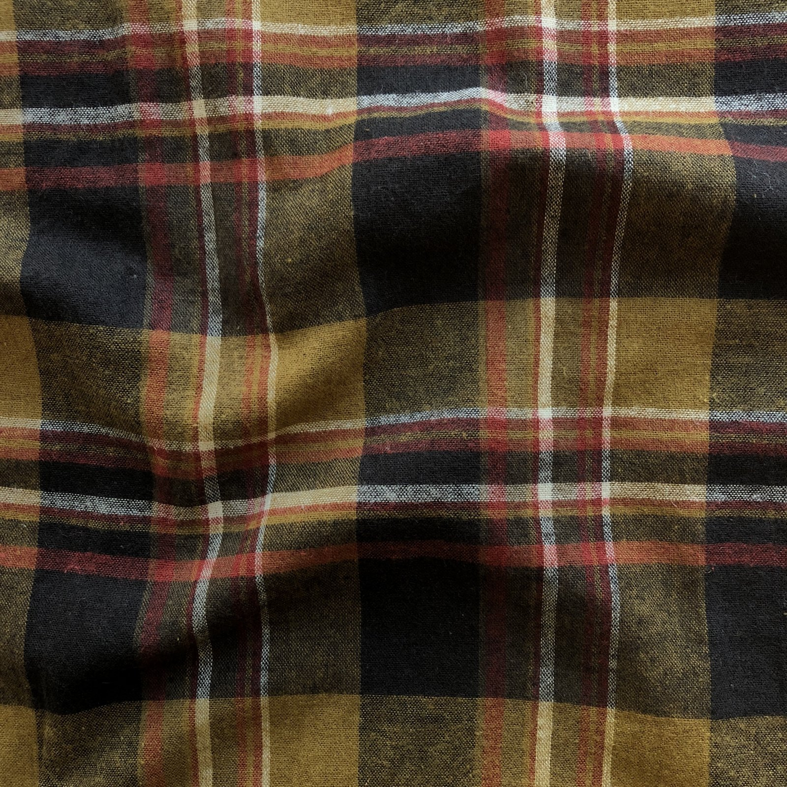 Brushed Cotton/Linen Plaid - Ochre