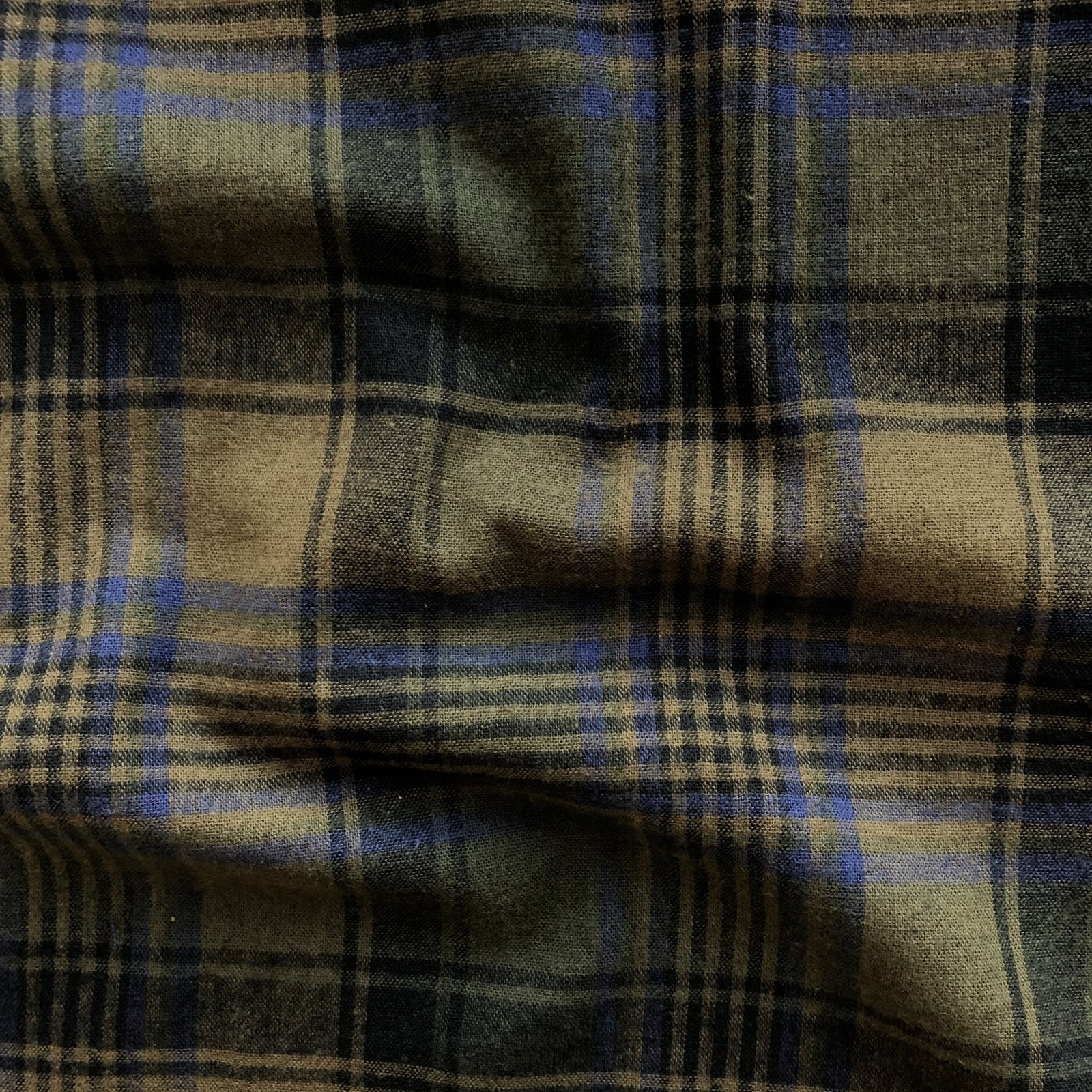 Brushed Cotton/Linen Plaid - Moss
