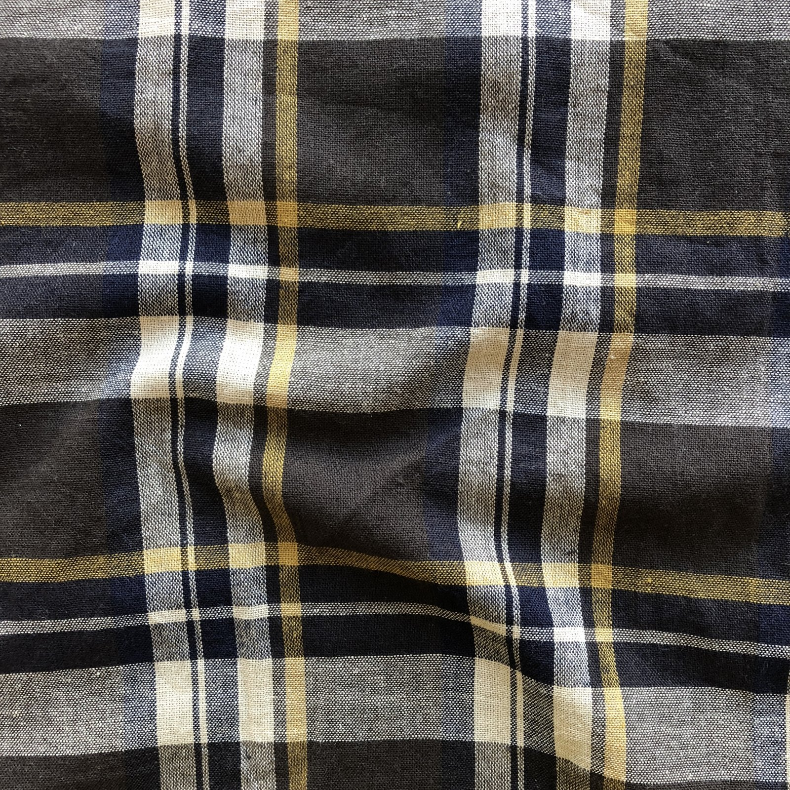Brushed Cotton/Linen Plaid - Pebble