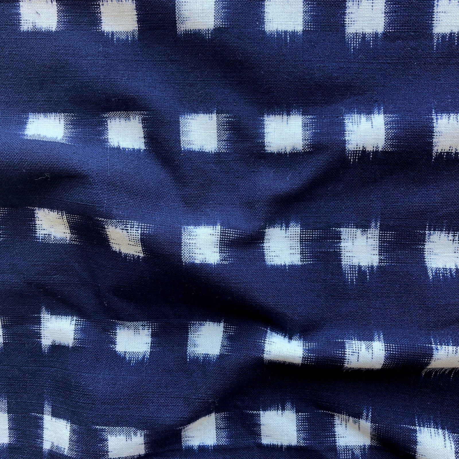Dakota Square Ikat - Cream on Navy