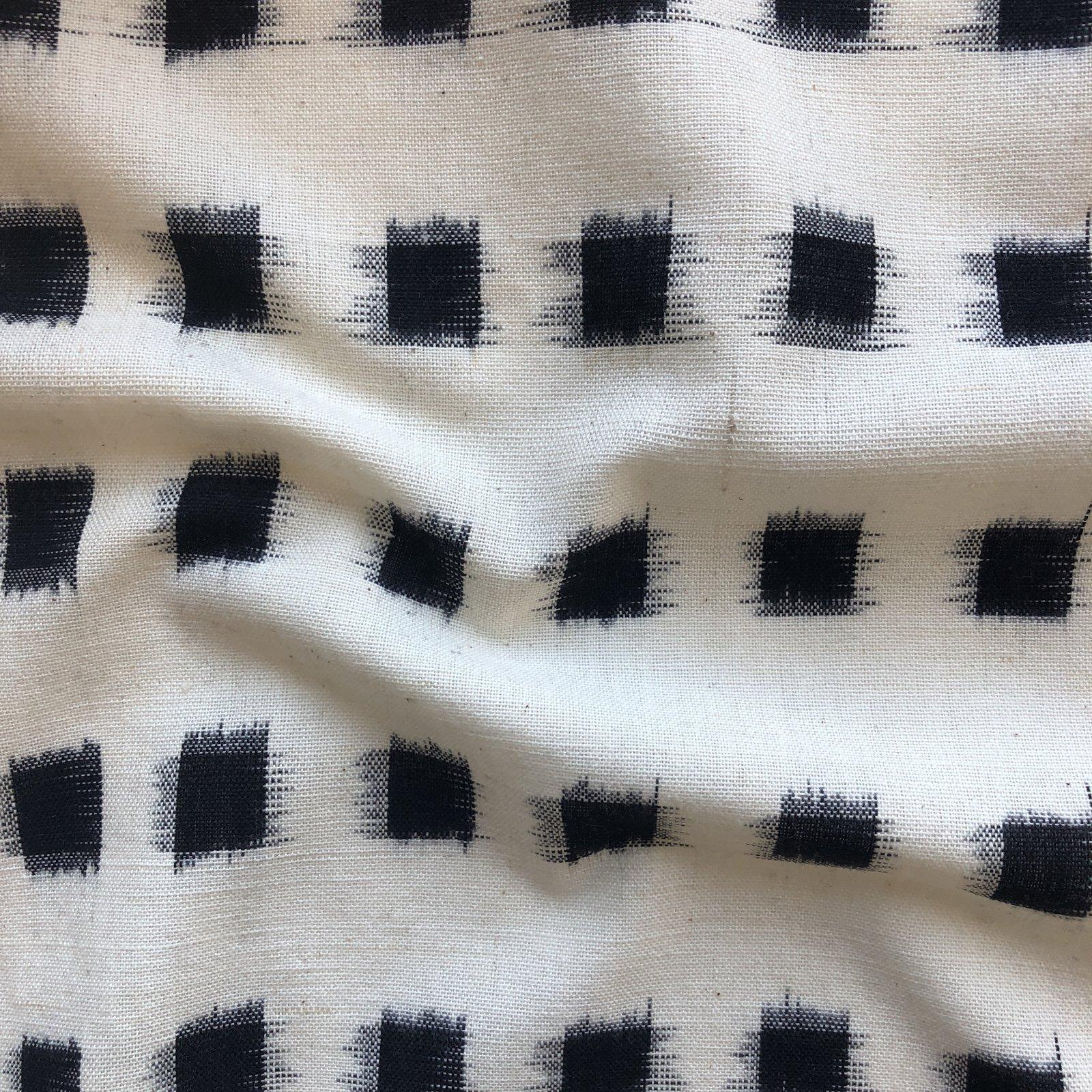Dakota Square Ikat - Black on Cream