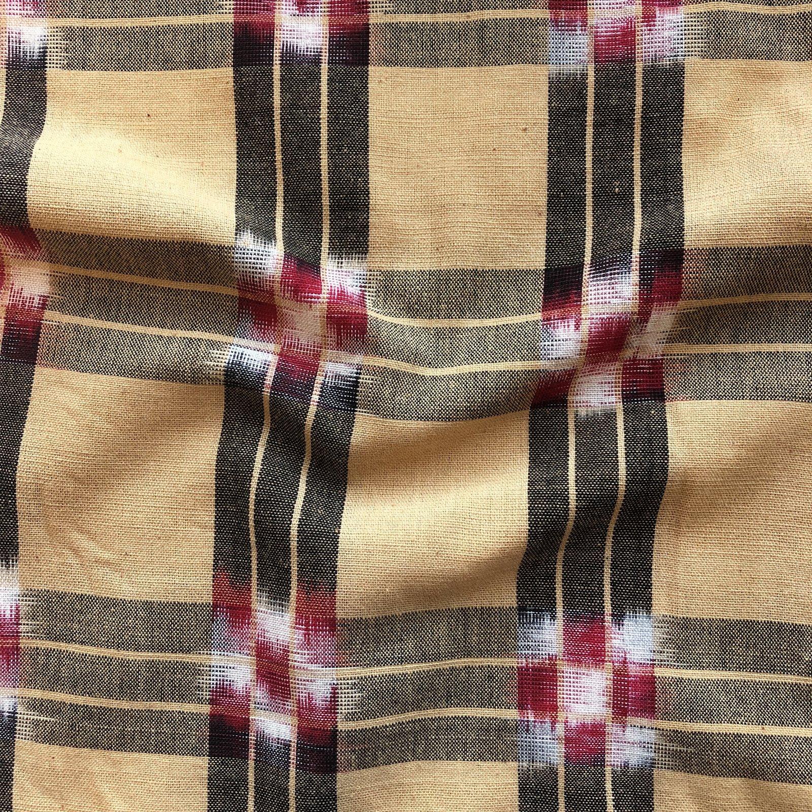 Checker Board Stripe Ikat - Brown/Red