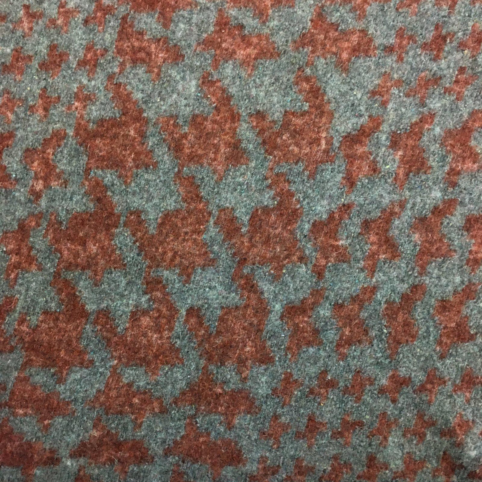 Italian Wool Sweater Knit - Rust Houndstooth