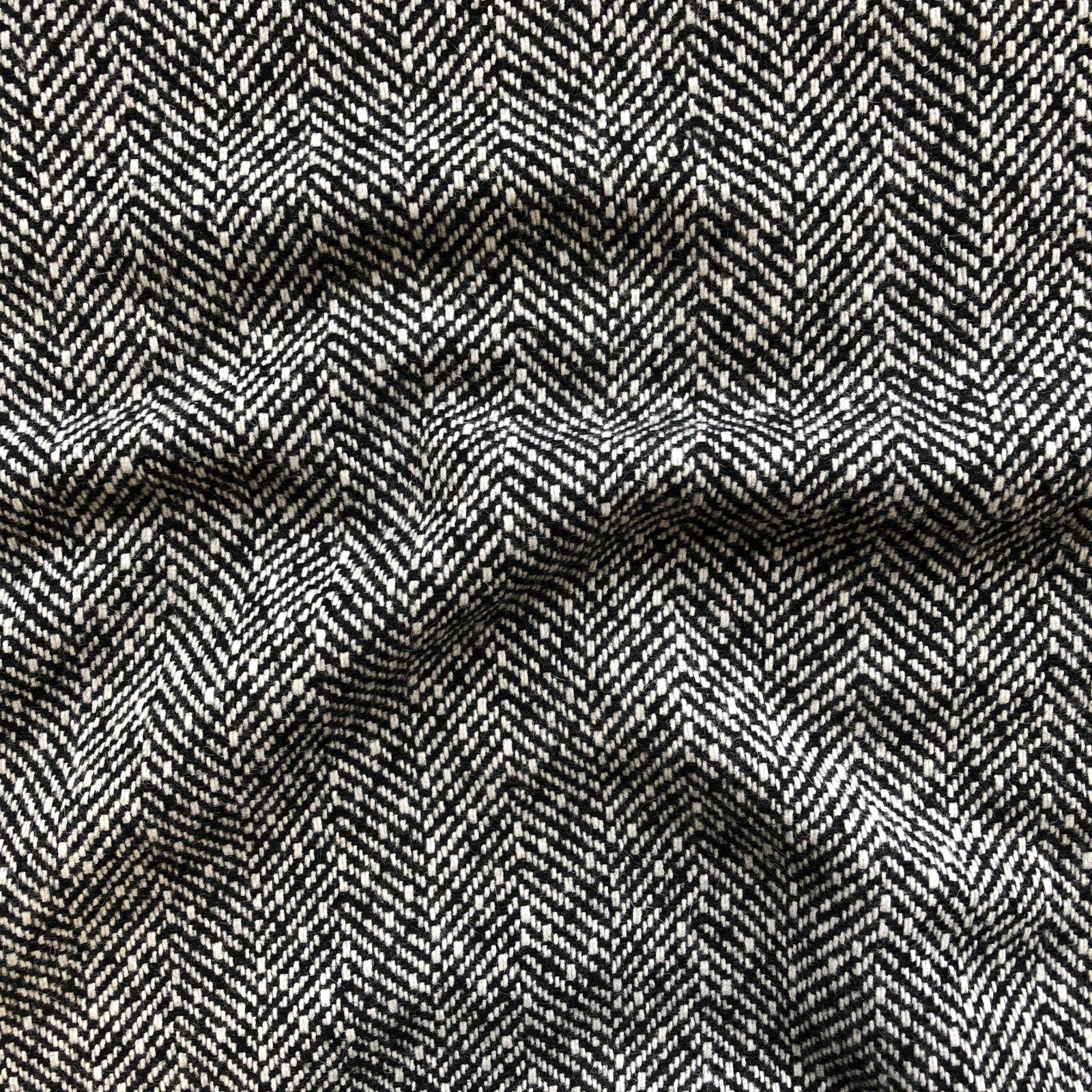Designer Wool Coating - Black and White Herringbone