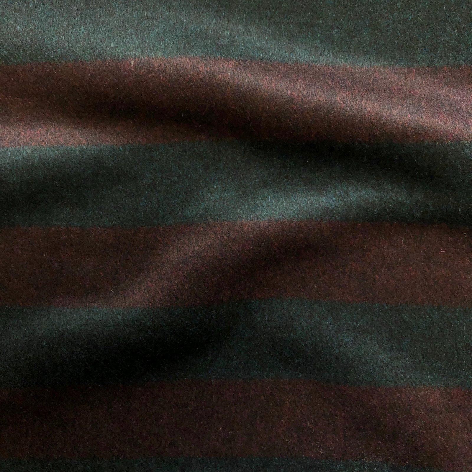 Designer Wool Coating - Maroon/Dark Peacock Stripe