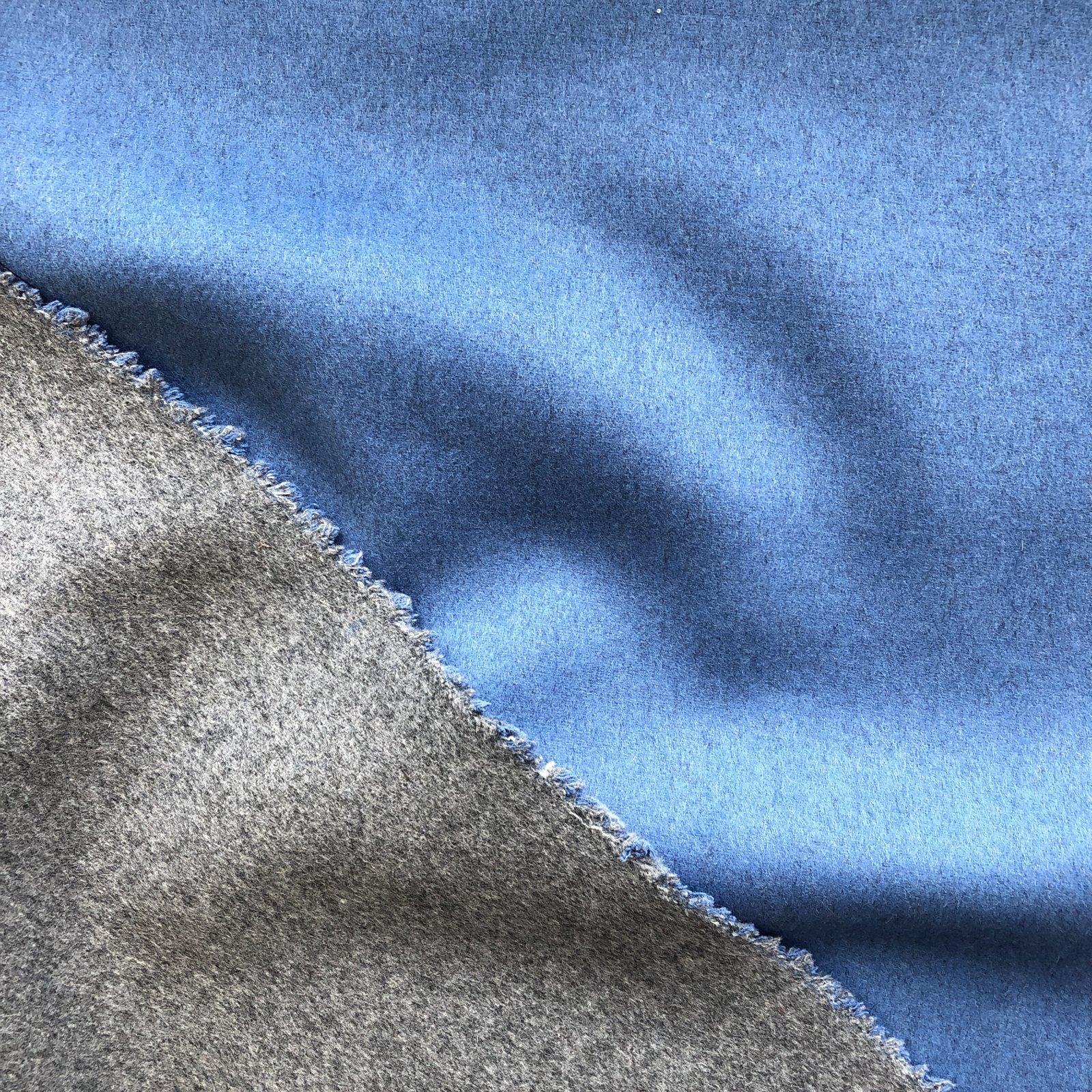 Designer Wool Coating - Double Faced Sky Blue/Ash