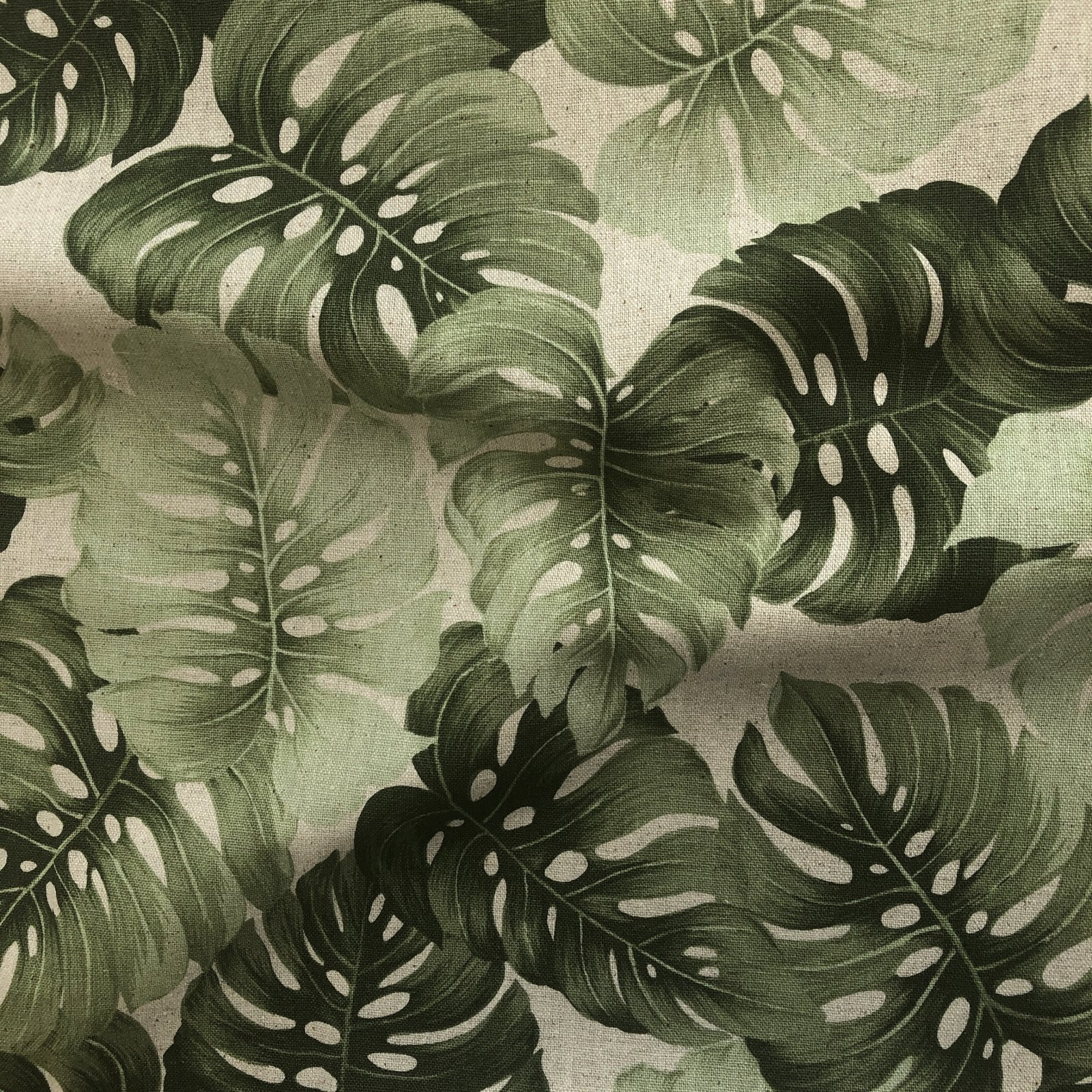 Hishei - Cotton/Linen Canvas - Monstera Leaves