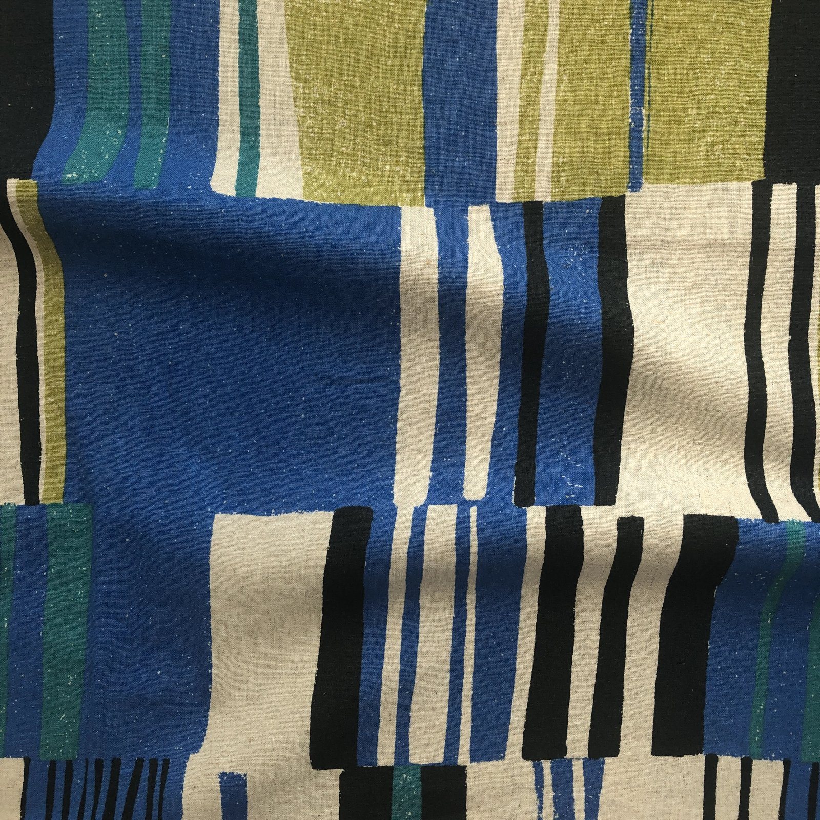 Hokkoh - Linen/Cotton - Boxy Stripes - Blue/Green