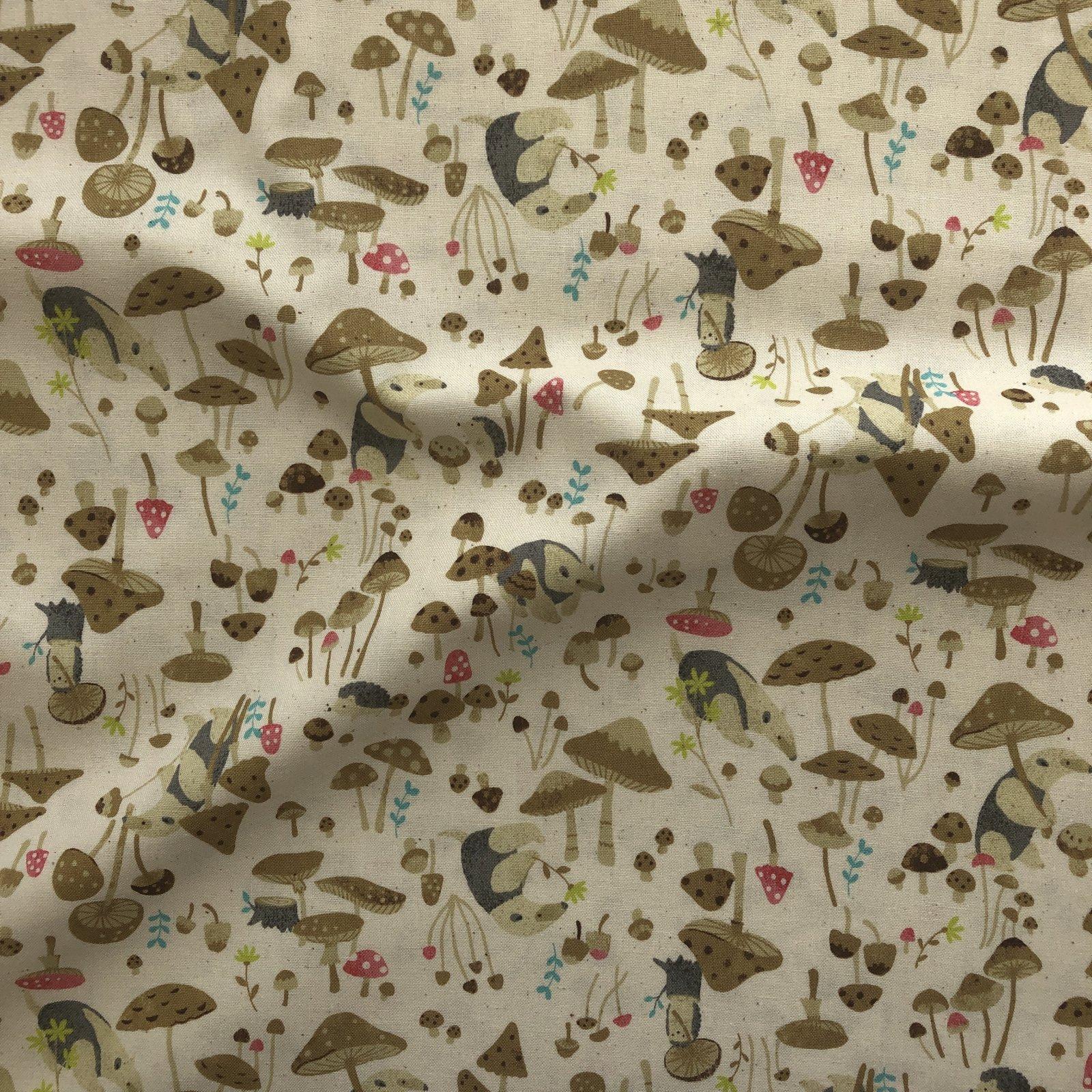 Kokka - Cotton Sheeting - Anteater & Hedgehog - Brown