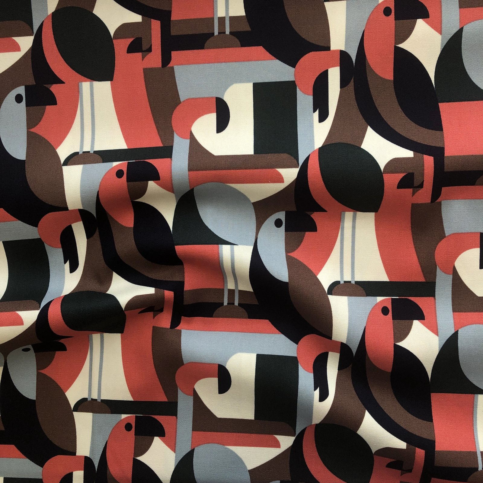 Hokkoh - Cotton Oxford - Geometric Birds - Coral