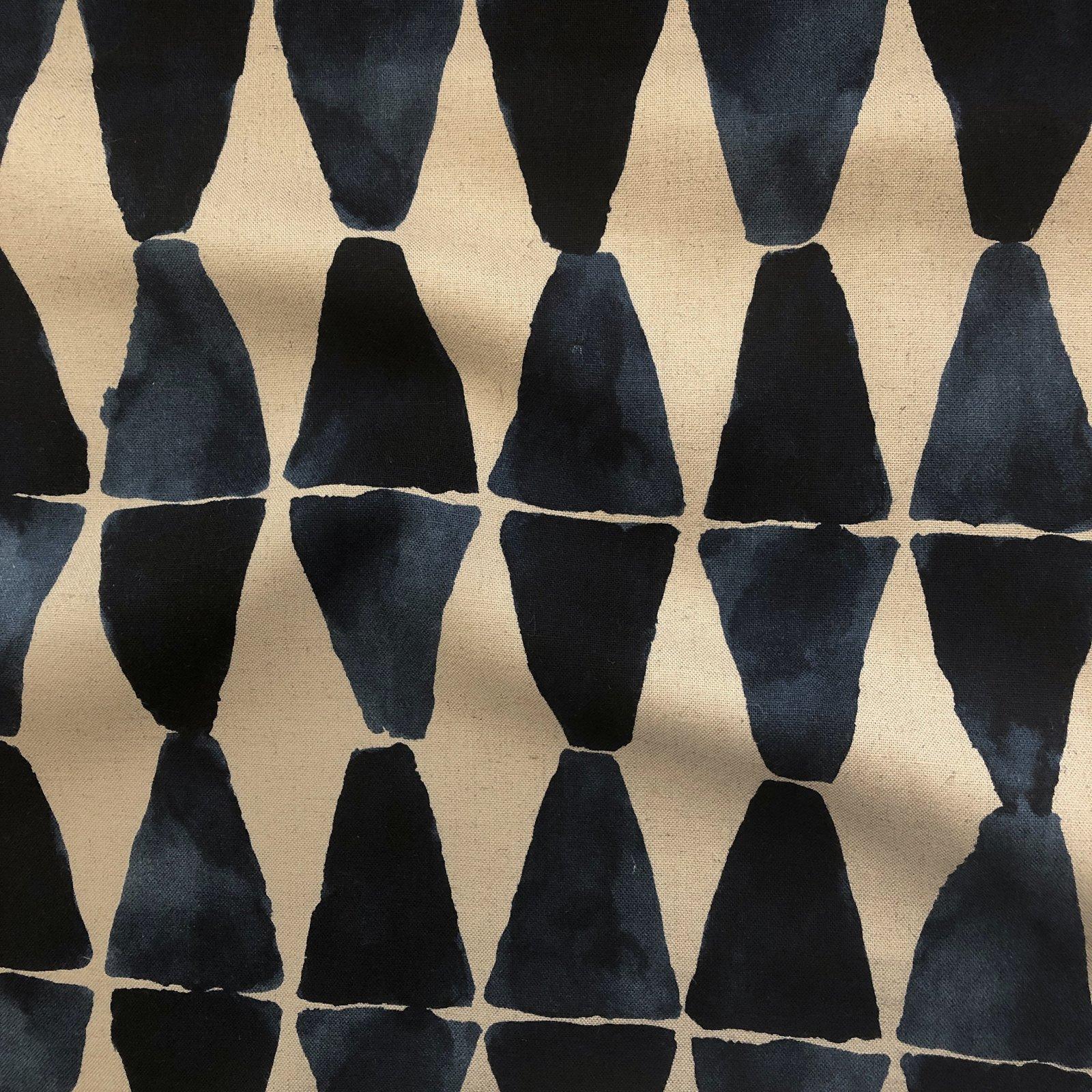 Kokka - Rayon/Linen - Geometric Watercolor - Indigo