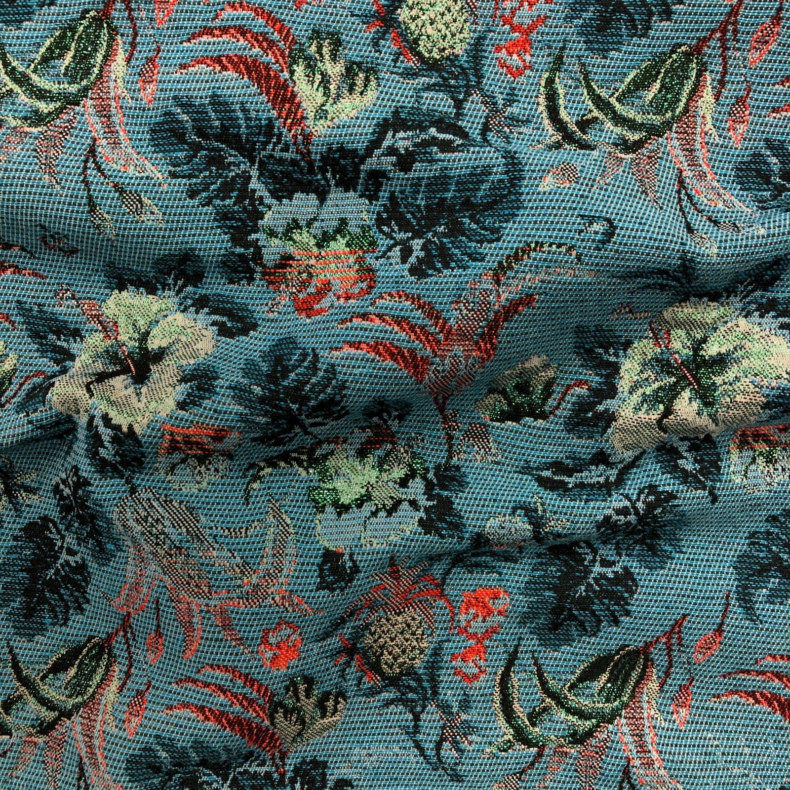 Metallic Jacquard - Blue/Red Hibiscus