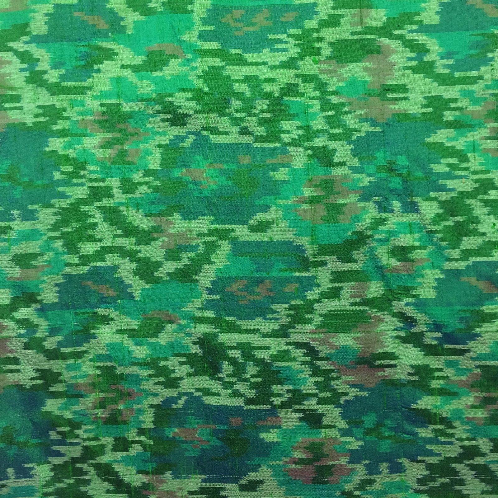 100% Silk Ikat - Green