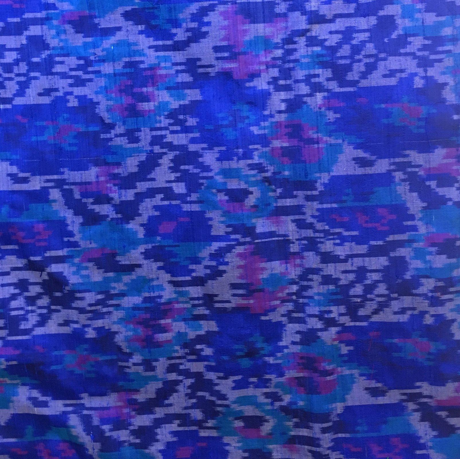 100% Silk Ikat - Blue/Purple