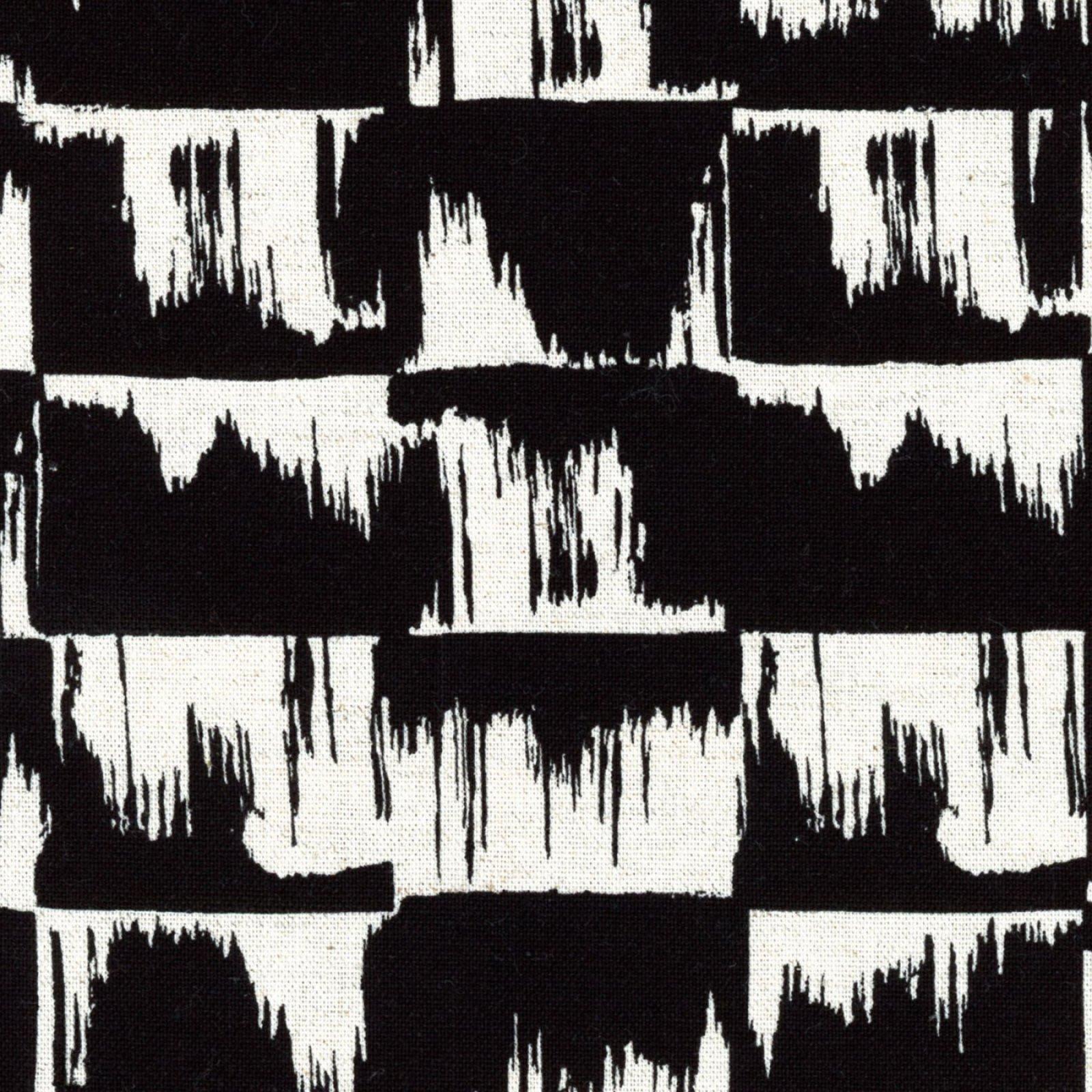 Kokka - Cotton/Linen Canvas - Paint Brush Strokes Black