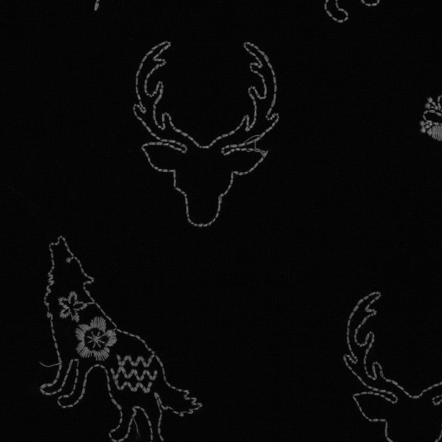 Kokka - Embroidered Canvas - Wolf & Deer - Black