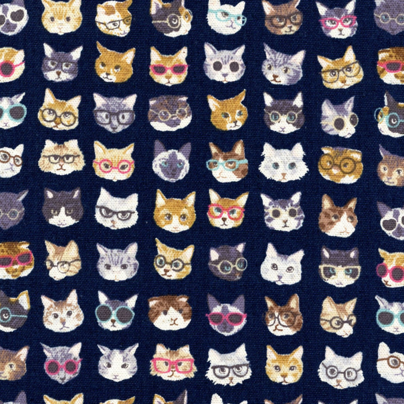 Kokka - Cotton/Linen Canvas - Animal World - Cats Blue