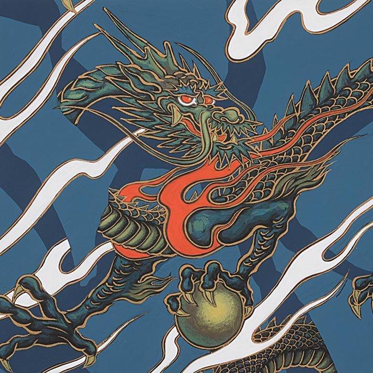 Alexander Henry - Golden Tatsu - Indigo