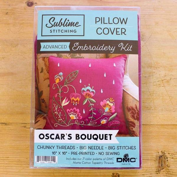 Embroidery Pillow Kit - Oscar's Bouquet