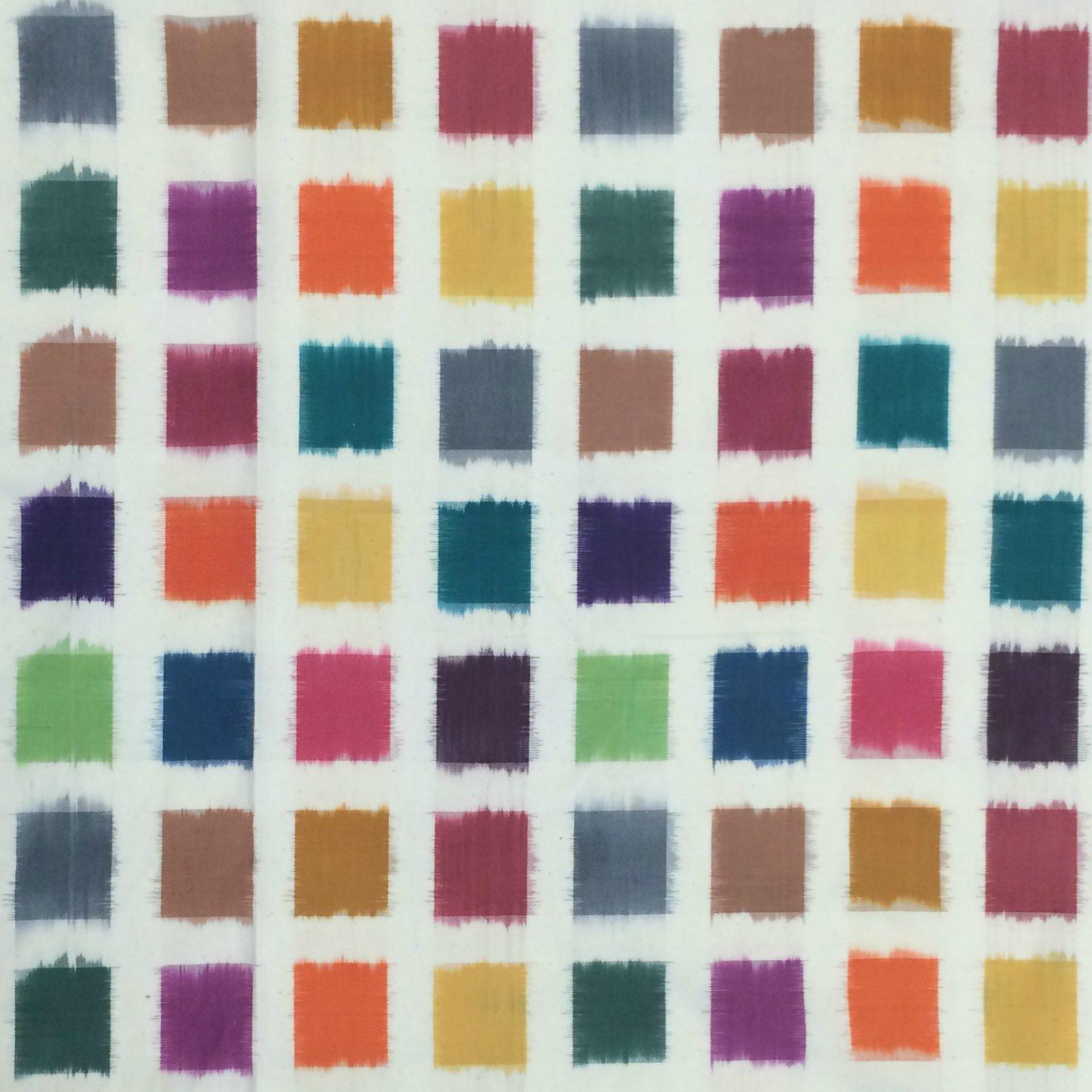 Rainbow Squares Ikat - Natural