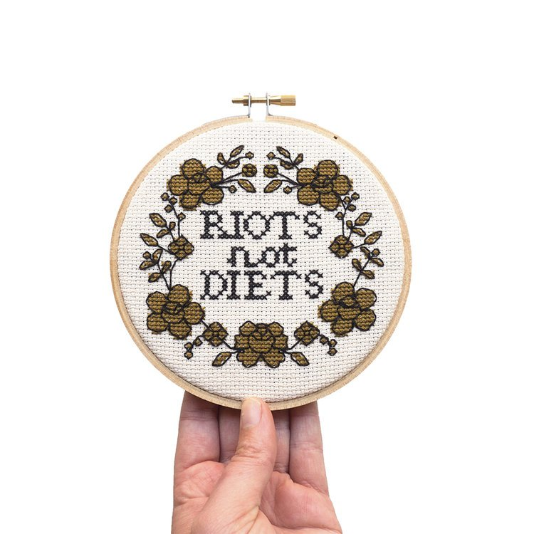 Junebug and Darlin Cross Stitch Kit - Riots Not Diets
