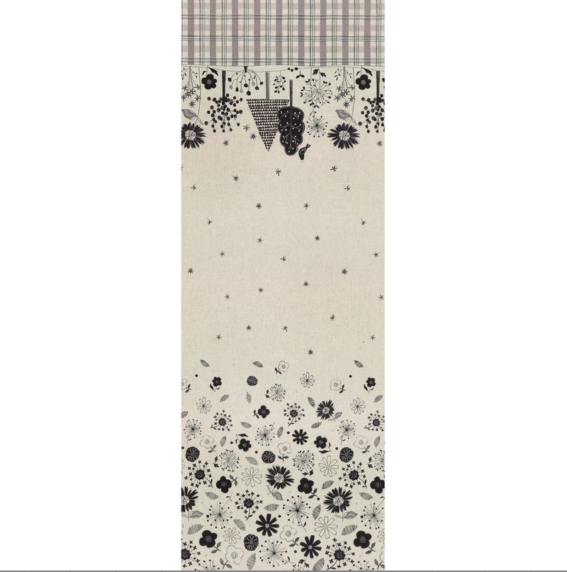 Japanese Flower Canvas - Double Border - Natural