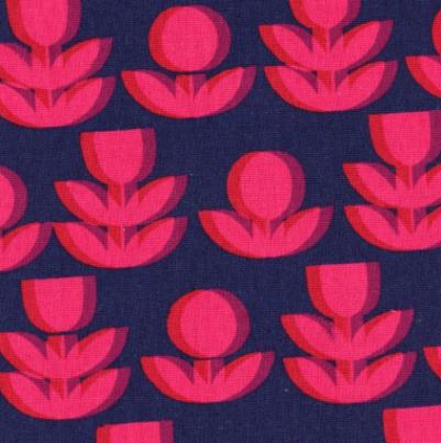 Kokka - Cotton/Linen Canvas - Flowers - Fuchsia