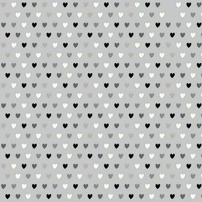 Cotton/Spandex Printed Jersey - Hearts - Grey