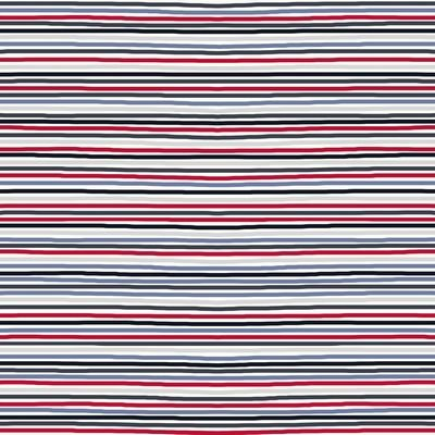 Cotton/Spandex Printed Jersey - Stripes - Red/Blue