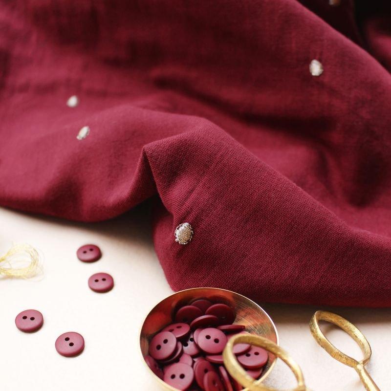 Atelier Brunette - Embroidered Double Gauze - Stardust Amarante
