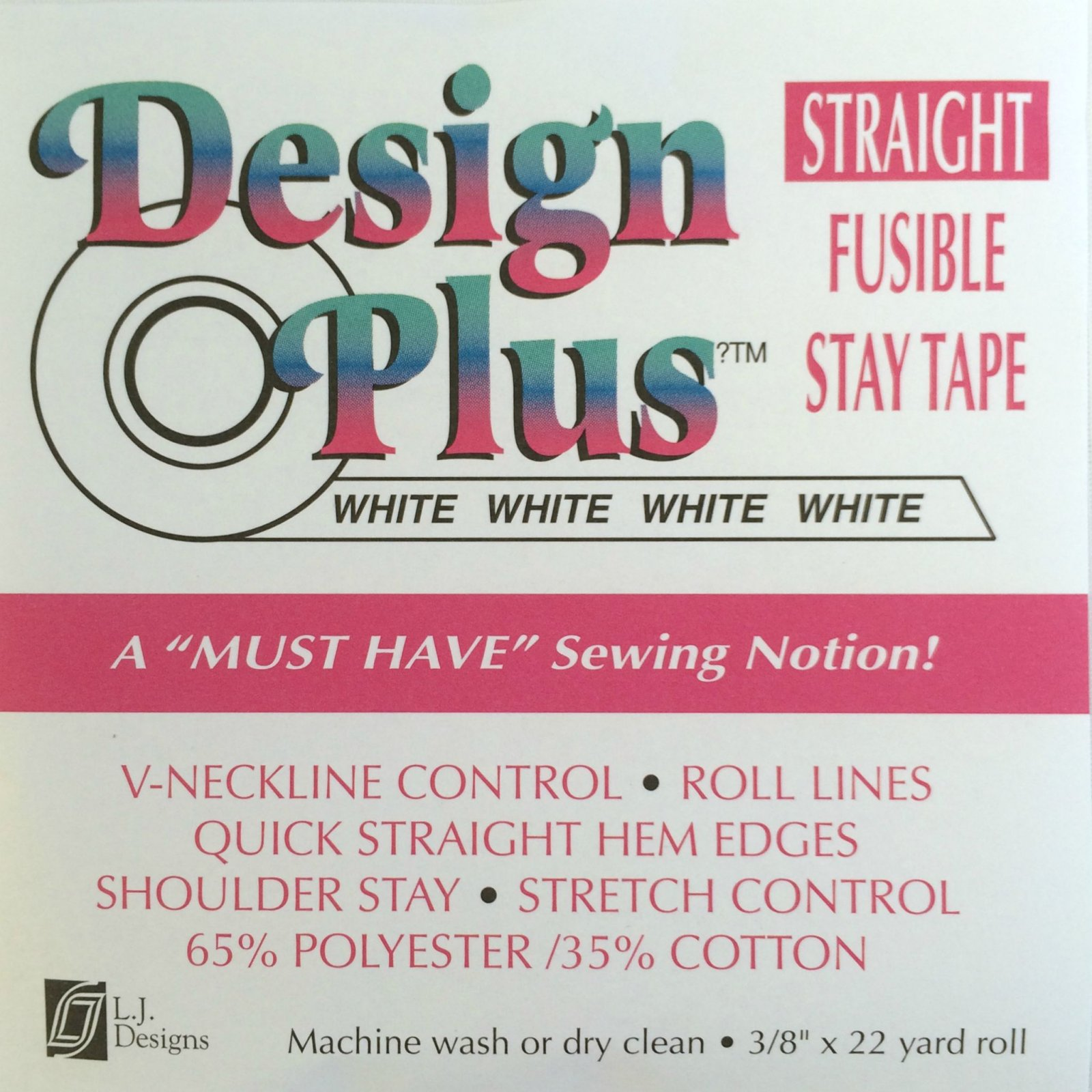 Design Plus Straight Stay Tape - White