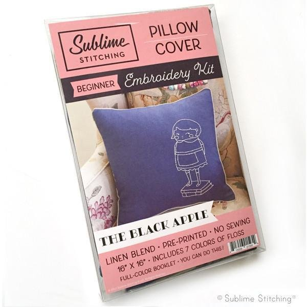 Embroidery Pillow Kit - The Black Apple